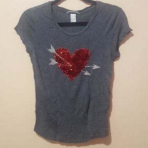 H&M Charcoal Gray Sequin Heart Top (Like New)